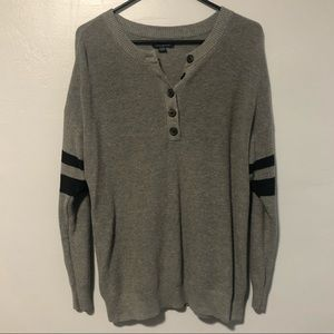 American Eagle henley striped button light sweater